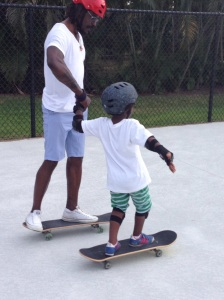 Jackson and dad, learning the ropes.